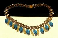 Rare Vintage Miriam Haskell Brass Bookchain Dangle Blue Citrine Glass Necklace