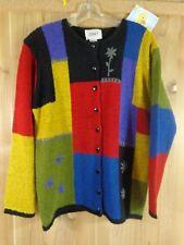 JENNY Casual Sweater SIZE L Button Front Color Block Floral Black Back Trim
