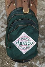 TABASCO GOLF BAG GREEN FABRIC BROWN PEBBLED LEATHER TRIMMED ZIPPERS POCKETS