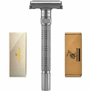 Vikings Blade Adjustable Safety Razor Close Shave Beginner Expert Frosted Chrome
