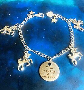 Unicorn Charm bracelet silver chain Birthday gift idea Handmade girls jewellery