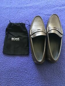 Hugo Boss Loafers, Size 10, Brown, Leather, Never Worn, Boat Shoes.