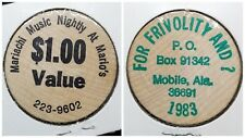 Wooden Nickel ☆ Mario's Mobile AL  ☆ For Frivolity And ? $1 Value