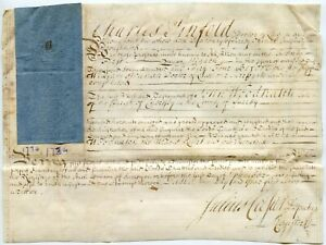 1734 PARCHMENT DOCUMENT 5s REVENUE STAMP DUTY SIGNED JULIUS CASAR re C.PINFOLD