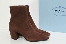 New sz 8 / 38.5 PRADA Brown Suede Pointy Toe Ankle Bootie Heel Women Shoes