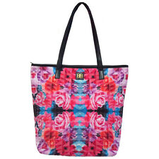 Bagabook Tote bag double handle canvas floral pink zipped beach bag pockets