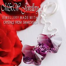 925 Silver Long Earrings Crystals from Swarovski® BUTTERFLY 18mm - Amethyst