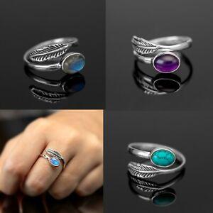 Adjustable Sterling Silver Ladies Moonstone Turquoise Ring Gift Jewellery Leaf