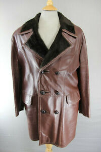 VNTG 70's BRITISH MADE CO-OP LEISUREWEAR FUR COLLAR/LINED BROWN LEATHER COAT 40""