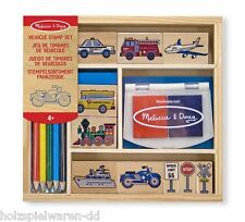 Melissa & Doug 12409 Stamp set Vehicles 10 stamp Stylus Wooden Box New! #