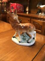 "Vintage Baby Deer Fawn Figurine Ceramic Porcelain Made In Japan 5"""