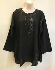 Hippie Bohemian Gypsy Indian Embroidered Color Sequin Voile Kurta Black