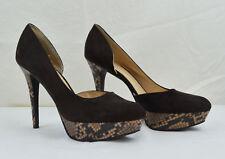 Nine West Platform Heels 9 1/2 M Dark Brown Faux Snake Skin & Suede Stiletto