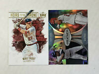 MIKE TROUT LOT OF 2 2019 Topps Chrome REF SP w/ HANK AARON + DK Heirs w/ MANTLE!