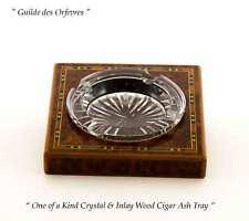 Cigar Ash Tray One of a Kind Crystal & Inlay Wood
