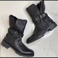 Sam Edelman Black Faux Fur Snow Moto Boots Outdoor Size 8.5