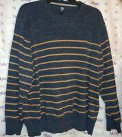 $40 Route 66 men's XL knit sweater gray tan stripe long sleeve top