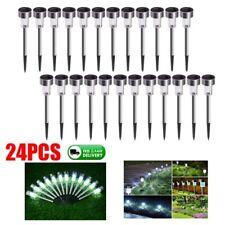 24pcs Solar LED Landscape Path Lights Lamp Garden Outdoor Stainless Steel USA