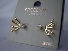 Topshop Freedom Earrings Gold tone Diamante REAL NEW Cost £7