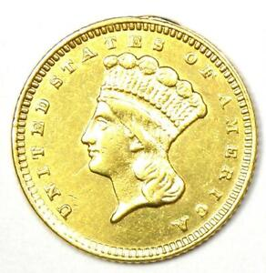 1874 Indian Dollar Gold Coin (G$1) - Choice AU / UNC Details - Rare Coin!