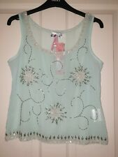 Lipsy Pale Green Sheer Vintage Flower Embellished Vest Top Size 10 BNWT