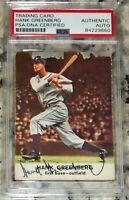 1961 Golden Press Hank Greenberg Signed Autographed Auto Baseball Card PSA Slab!
