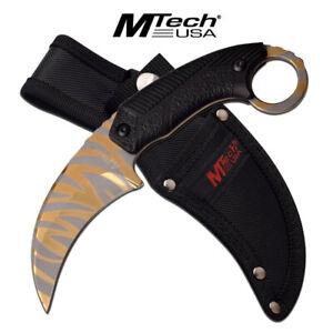 New MTech MT-20-78GD Nylon Fibre Fixed Blade Gold Tiger Stripe Titanium Karambit