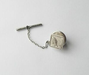 VINTAGE STERLING SILVER TIE PIN. BIRMINGHAM 1975. INITIALS J A & S. ENGRAVED.