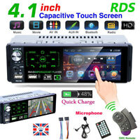 Single 1 Din Car Radio 4.1'' HD Player Touch Screen RDS AM FM Bluetooth Stereo