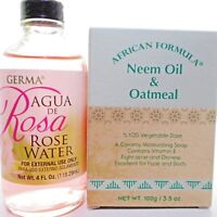 African Formula Neem Oil Oatmeal Acne Soap Rose Water Agua de Rosa Facial toner
