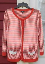 """TALBOTS Coral/White Striped 3/4 Sleeved Button Down 2 Pocket Cardigan PXL (42"""")"""