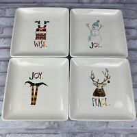 Rae Dunn by Magenta Set Of 4 Square Joy Wish Peace Christmas Holiday Plates
