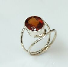 925 STERLING SOLID SILVER RING SIZE 5 TO 10 NATURAL HESSONITE GARNET GEMSTONE D