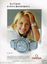 Publicité advertising 2002 La Montre Omega Speedmaster Anna Kournikova