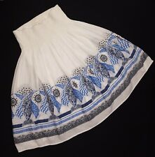 Coldwater Creek Maxi Skirt Large Crinkle Broomstick Gypsy White Blue Fish Artsy