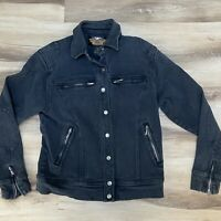 Women's Harley-Davidson Stretch Denim Moto Jean Jacket Black Size Medium