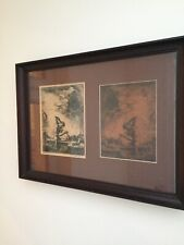 RARE Original Etching And Etching Plate By J Komjati (Hungarian) - Kain And Abel