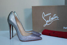 New sz 5 / 35 Christian Louboutin So Kate Silver Glitter Pointed Toe Pump Shoe