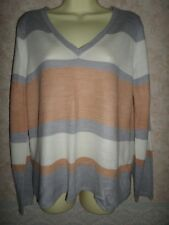 Marks and Spencer Gris & Camel Maille Fine Acrylique à Rayures Pull Taille 12
