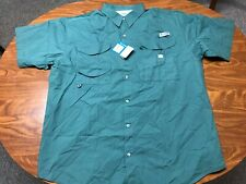 MENS NEW WITH TAGS COLUMBIA PFG GREEN BUTTON UP FISHING VENTED SHIRT SIZE XL