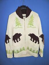Vintage M Alaska Grizzly Bear Cowichan Cardigan Sweater Wool Zip Jacket Pockets