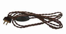 Brown Cloth Covered Twisted Cord with a switch and Plug - 8 ft -  2 conductor
