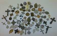 Large Lot of 70 Vintage Religious Roman Catholic Blessed Medals Crucifix