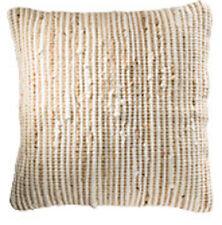 ❤️ Striped Recycled Cotton Jute Cushion Cover NATURAL 45cm x 45cm Plain Back Zip