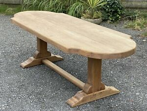 Large French round End Bleached Oak Farmhouse Dining Table C1920