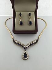 """Dangling Pear Shape Synthetic Sapphire Necklace/Earring Set 14k Yellow Gold 17"""""""