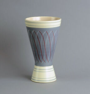 "Poole Pottery, UK ""contemporary ware"" vase in lavender and cream 1950s"