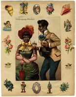 Antique c. 1880 large BLACK AMERICANA Chromo-Litho print on scrap book page