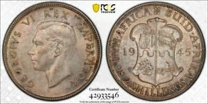 1945 South Africa 2 Shillings PCGS MS63 Lot#G1349 Choice UNC! Silver!