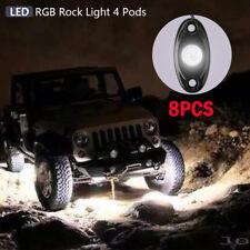 8 Lots RGB LED Rock Lights Wireless Bluetooth Music Flashing Multi Color Offroad